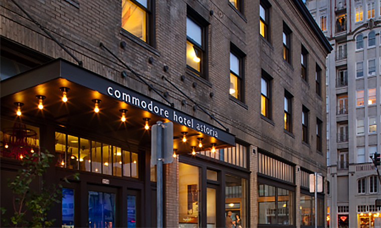 Commodore Hotel Front Exterior