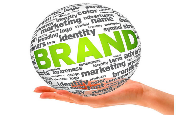 hand holding an illustrated sphere of words like brand, identity, marketing, logo, identify, etc...