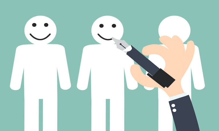 Illustration of a cartoon hand drawing smiles on figures of people