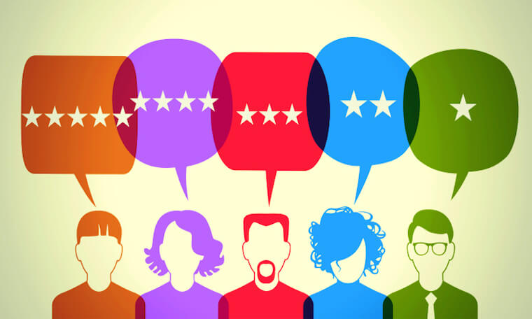Illustration of diverse people making diverse star ratings