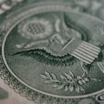 Close up shot of the eagle on a dollar bill