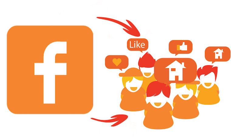 Facebook logo and illustrated people with chat bubbles doing Like, heart, thumbs up, etc