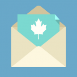 Envelope containing a blue paper with a white maple leaf