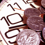 Coins on a clock face