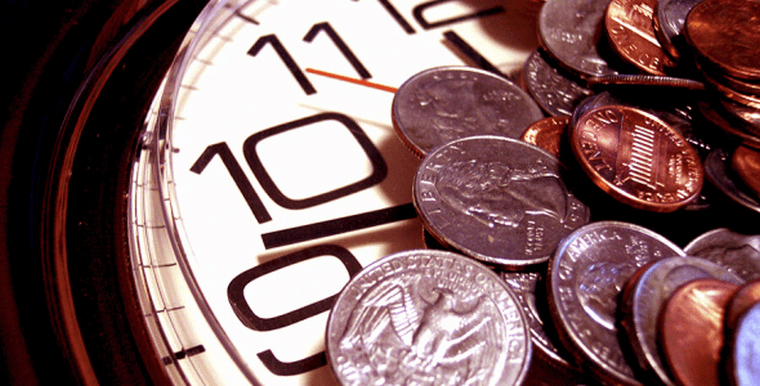 Coins on a clock face