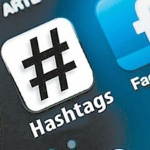 closeup of a hashtag icon on a mobile phone