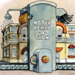 Cartoon drawing showing a hotel on a conveyor belt going through the Hotel Rehab-a-tron machine and coming out new and shiney