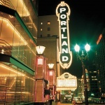 Night time outside the Portland Paramount Theater