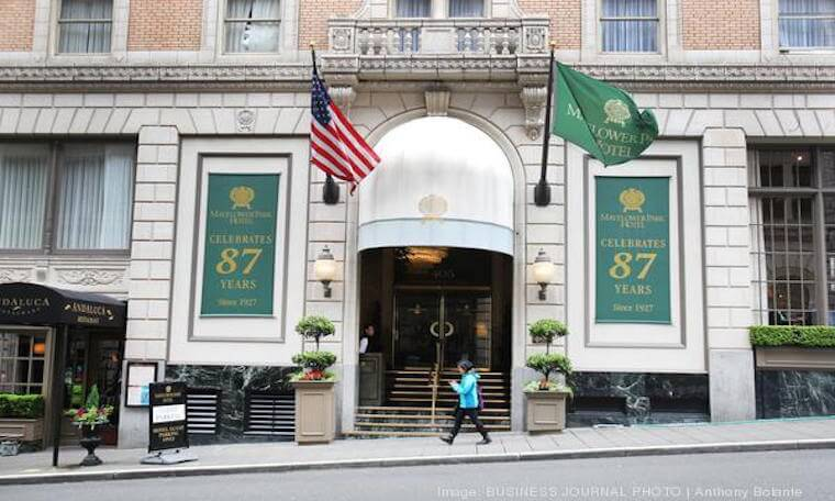 front entrance to the Portland Mayflower hotel