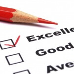 Customer survey form showing Excellent, Good, Average options with Excellent checked