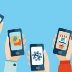 Illustration of 5 hands holding up their cell phones with different apps displayed