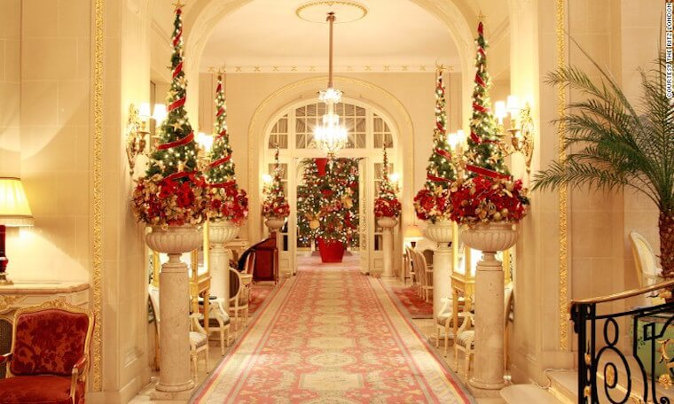 Holiday decorations in lobby