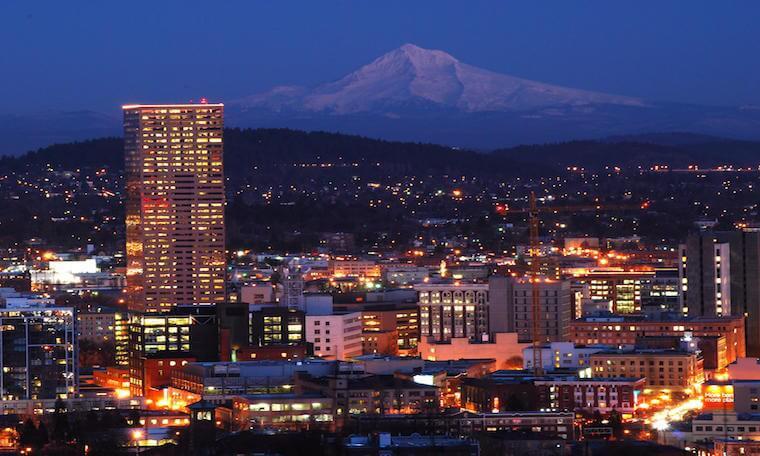 Portland Oregon Skyline at Night