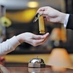 Hotel guest getting key