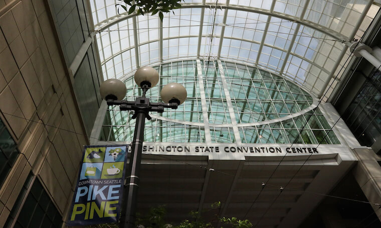 The Washington State Convention center in downtown Seattle.